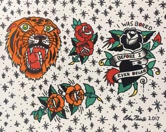 "14x10"" Morrissey Traditional Tattoo Flash"
