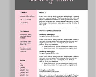 "Resume template 4 page | CV template + cover letter for MS Word | Instant digital download | Professional template | ""Lindsey"""