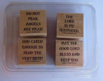 Spiritual Sentiments, Stampin Up Stamp Set, 4 Wood mounted Stamps, Unused