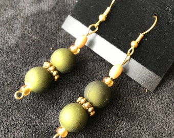 Double Sphere with Gold Spacer Earrings