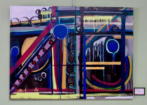 "Large Abstract Painting ""Graffiti Burst"""