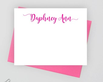 Personalized stationery set,  personalized stationary set,  personalized note card set, flat note card, calligraphy stationery, Daph