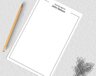 Personalized notepad, from the desk of notepad, custom notepad, personalized notepad set, writing pad, gift for him, mens notepad NP4