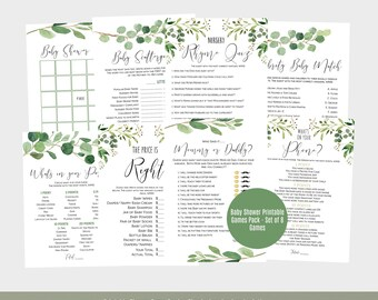 Baby Shower Games Template, Greenery Baby Shower Game Cards, Scattergories, Baby Bingo, Printable Games, Instant Download, WLP554