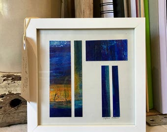 Individual original hand-made acrylic paint and mixed media art card mounted and framed. 'Pieces Of Blue', a perfect gift for Christmas.