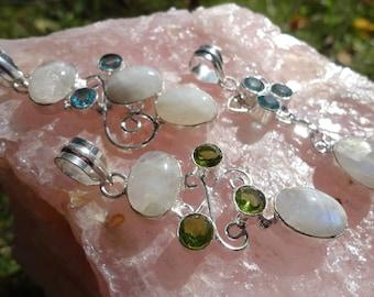 Moonstone, Blue Topaz or Peridot gemstone pendant, 925 sterling silver, free chain