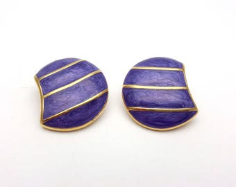 Vintage Clip on 60s Earrings Purple Enamel Gold Tone Metal Marked IV Moon Striped Geometric Modernist Mod Retro Classic Feminine Statement
