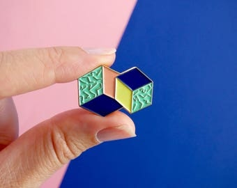 Enamel Pin with geometric pattern and colorful