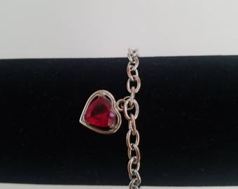 Unique and Antique! One Of A Kind Victorian Silver and Ruby Red Eternal Heart Charm Toggle Bracelet! Wonderful Vintage Condition!