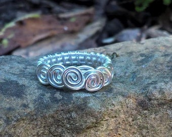 Silver ring, wire-wrapped, intricate