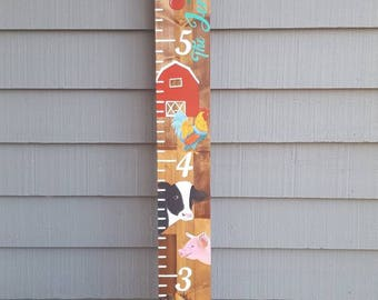 Farmhouse Decor, One Of A Kind Custom Detailed Hand Painted Room Decor, Unique Art, Oversized Ruler, Kid's Decor, Baby shower Gift
