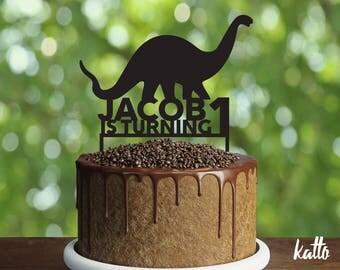 Brontosaurus Birthday Cake Topper- Customizable Birthday Cake Topper- Dinosaur Topper- Silhouette Dinosaur Cake Topper- Personalized topper