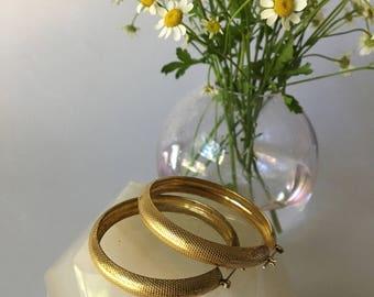 Large Snakeskin Textured Gold Hoop Earrings