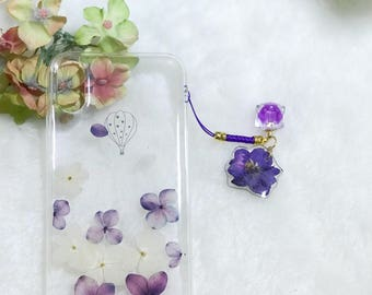 For iphone 10 Handmade pressed flowers Bling sparkle cellphone Silicone soft case for iphone 10 iphone X purple flowers case cover