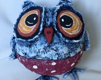 Little Decor Owl - Papier-mache-Home Decor toy-Papier mache sculpture- OOAK