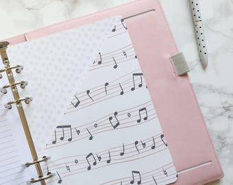 Musical Notes Pocket Folder | Planner Pocket | Pocket Divider | Pocket Dashboard - A5