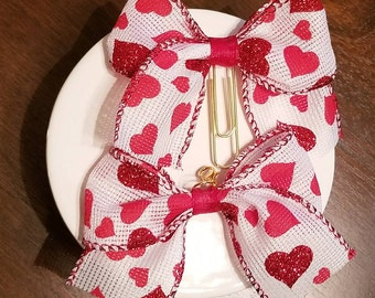 Bow with Red Glitter Hearts Planner Clip/ Charm