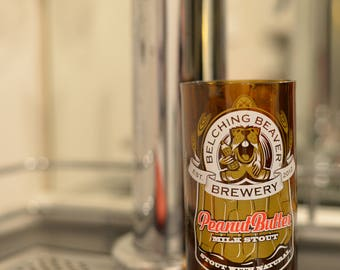 16 oz Upcycled pint glass made from Belching Beaver Brewery bottle