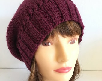Knitted Gift Hat For Girlfriend For Wife, Burgundy Slouchy Beanie For Her, Hipster Mom Dark Red Wool Hat, Fancy Feminine Hand Knit Headgear