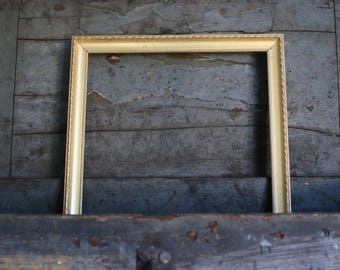 Gold Painted Vintage Wood Picture Frame with Hanging Wire