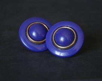 Royal Blue Earrings Clip On, Royal Blue Clip Earrings, 80s Statement Earrings, 80s Earrings Round Clip Earrings, 80s Clip on Earrings Blue