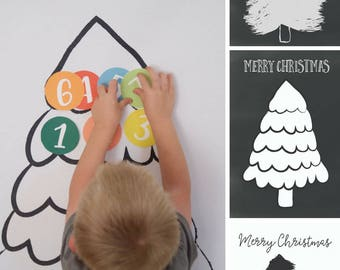 Christmas Tree Advent and Christmas Countdown Calendar, Instant Download