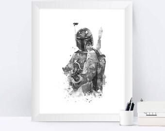 Star Wars Boba Fett Print Black and white Boba Fett art Watercolor Painting Poster Bounty Hunter Star Wars Watercolor Print Wall Art Print