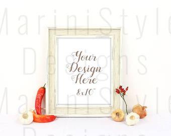 8x10 Wood Empty Frame Mock up, Minimalistic Styled Stock Photography, Vintage Styled Stock image, Photo Frame Mockup, Stock Photo, PSD, 625