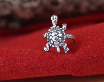 Sterling silver turtle earring cuff