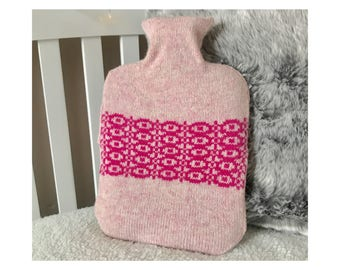 Pink Carnation Foxglove Design Hot Water Bottle Cover Knitted in Supersoft Lambswool