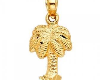 14K Solid Yellow Gold Palm Tree Pendant - Diamond Cut Necklace Charm