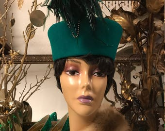 Green Hat with Feathers