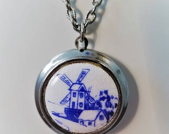 Vintage Windmill Necklace Locket - Silver with Blue Front