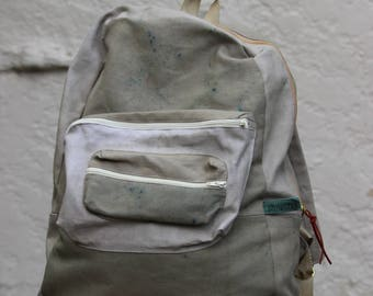 Handmade/Hand-dyed Casual Canvas Backpack In Khaki
