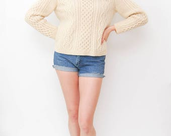 fishermans cream sweater | hand knit wool sweater | mohair cable knit pullover | neutral v neck top | size medium