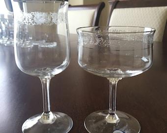 VTG lenox platinum band crystal glasses, Champagne glass and Wine glass.