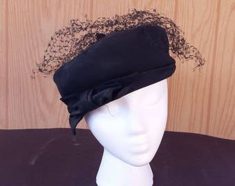 Vintage 1960s Black Pillbox Hat with Bow and Veil