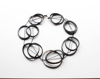 Link chain, necklace, black