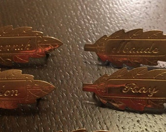 Vintage leaf name pins- Marion, Maude, and Ray