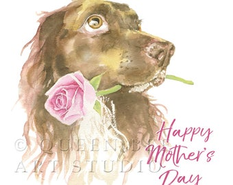 Mother's Day Card from Pet, Dog Mother's Day Card, Spaniel Card,  Pets Mothers Day Gift, Card from the Dog, Dog and flower card,  Dog lover
