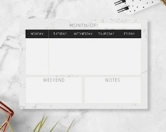 Minimalist Planner Pad - Small Weekly Notepad Planner - Modern Weekly Schedule Notepad - College School Supplies - Weekly Planner Calendar