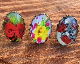 Printed Flower Rings
