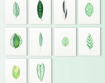 Leaves Card Set 10,note card,watercolor card,watercolor greeting card, leaf card, botanical watercolor card, botanical card,card set