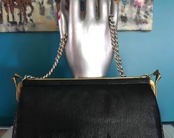 40's 50s Black Lizard Skin Clutch Handbag Brass Accents Metal Chain Strap