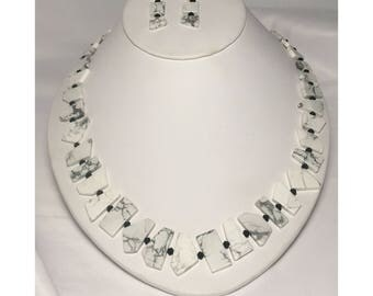 Howlite Stone Necklace and Earrings Set