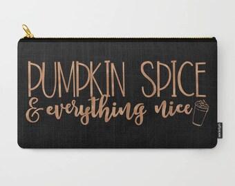 Pumpkin Spice and Everything Nice, Fall Accessory Pouch Zipper Bag Small, Pumpkin Spice Latte, Autumn Bag, Makeup Bag Large, PSL