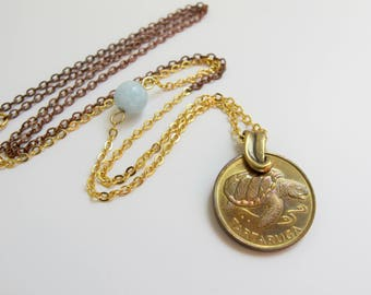 Sea Turtle Necklace Vintage Coin Jewelry Coin Necklace Beach Lover Jewelry