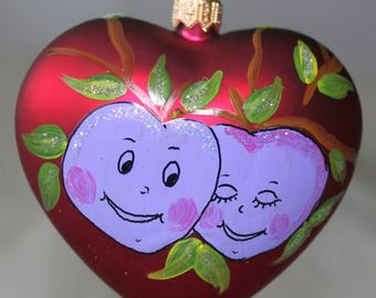 Glass Heart Lovely PLUMS , Hand blown & Hand painted, Christmas Tree Ornament Decoration Bauble, Brand new Boxed, Children decoration, Gift