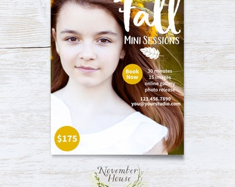 Fall Mini Session Template for Photographers, Autumn Mini Sessions, Photoshop Template, Photography Marketing, Instant Download