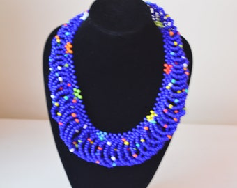 African Maasai Beaded Necklace | Blue Mixed  Necklace | African Jewelry | Tribal Necklace |Unique Necklace |One size fits all |Gift for Her